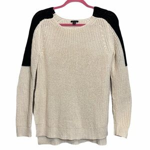 Ann Taylor Beige Cable Knit Popover Sweater